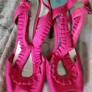 Hot pink frilly heels